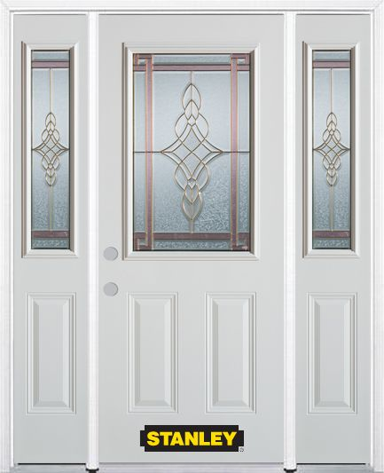 66-inch x 82-inch Milano 1/2-Lite 2-Panel White Steel Entry Door with Sidelites and Brickmould