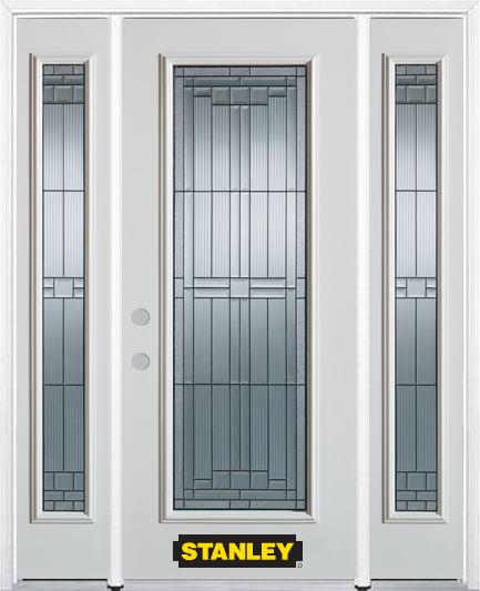 68-inch x 82-inch Seattle Full Lite Finished White Steel Entry Door with Sidelites and Brickmould