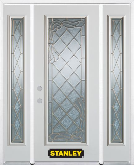 Stanley Doors 66.5 inch x 82.375 inch Queen Anne Brass Full Lite Prefinished White Right-Hand Inswing Steel Prehung Front Door with Sidelites and Brickmould