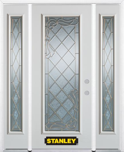 66-inch x 82-inch Queen Anne Full Lite Finished White Steel Entry Door with Sidelites and Brickmo...