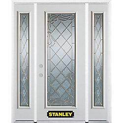 Stanley Doors Porte dentrée en acier préfini en blanc, munie d'un panneau de verre, 64 po x 82 po avec panneaux latéraux et moulure de brique