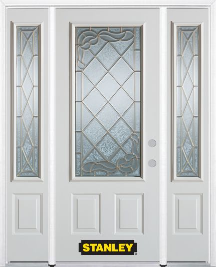 68-inch x 82-inch Queen Anne 3/4-Lite 2-Panel White Steel Entry Door with Sidelites and Brickmoul...