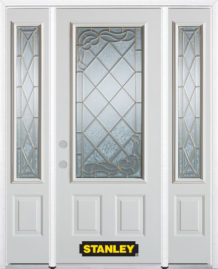 64-inch x 82-inch Queen Anne 3/4-Lite 2-Panel White Steel Entry Door with Sidelites and Brickmoul...