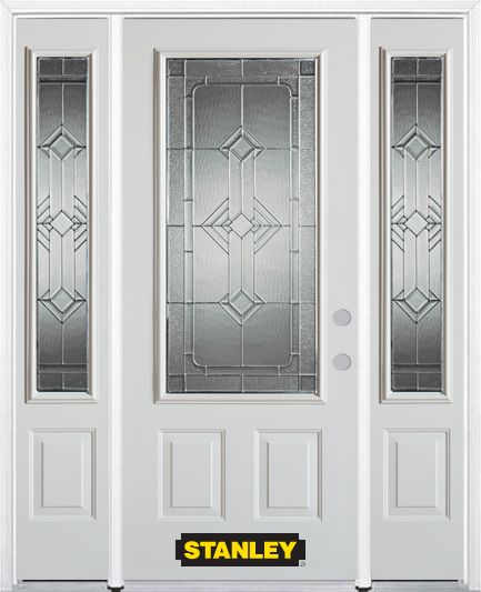 64-inch x 82-inch Neo-Deco 3/4-Lite 2-Panel White Steel Entry Door with Sidelites and Brickmould