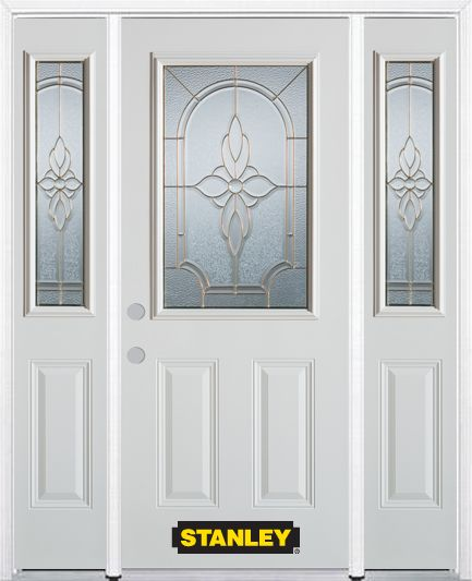 68-inch x 82-inch Trellis 1/2-Lite 2-Panel White Steel Entry Door with Sidelites and Brickmould