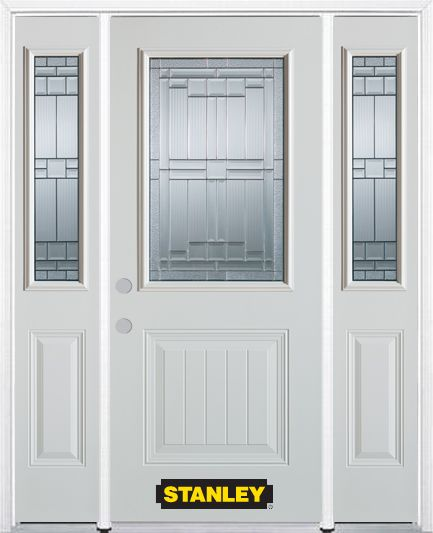 64-inch x 82-inch Seattle 1/2-Lite 1-Panel White Steel Entry Door with Sidelites and Brickmould
