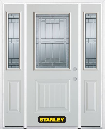 66-inch x 82-inch Seattle 1/2-Lite 1-Panel White Steel Entry Door with Sidelites and Brickmould
