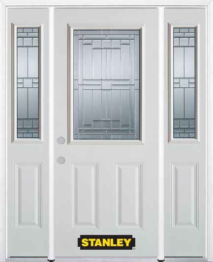 64-inch x 82-inch Seattle 1/2-Lite 2-Panel White Steel Entry Door with Sidelites and Brickmould