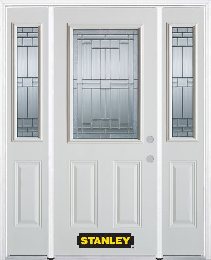 66-inch x 82-inch Seattle 1/2-Lite 2-Panel White Steel Entry Door with Sidelites and Brickmould