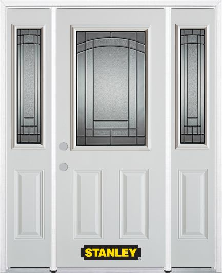 66-inch x 82-inch Chatham 1/2-Lite 2-Panel White Steel Entry Door with Sidelites and Brickmould