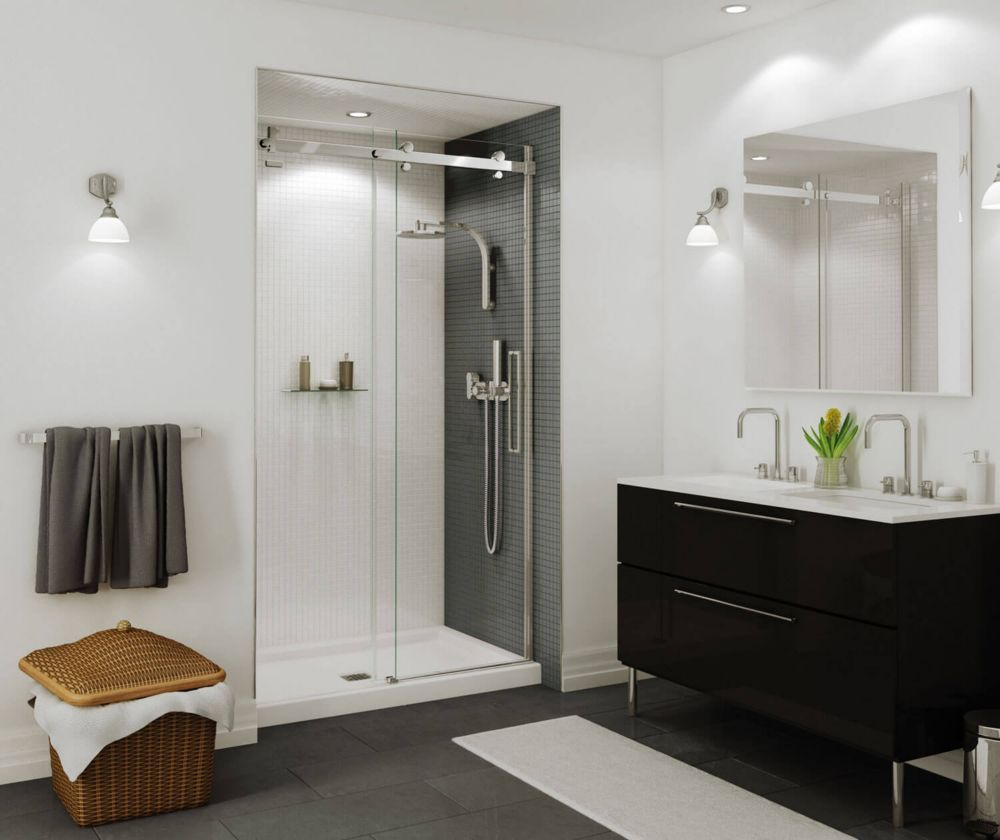 Halo Big Roller 48 Inch Frameless Sliding Shower Door With Clear Glass And  Chrome Handle