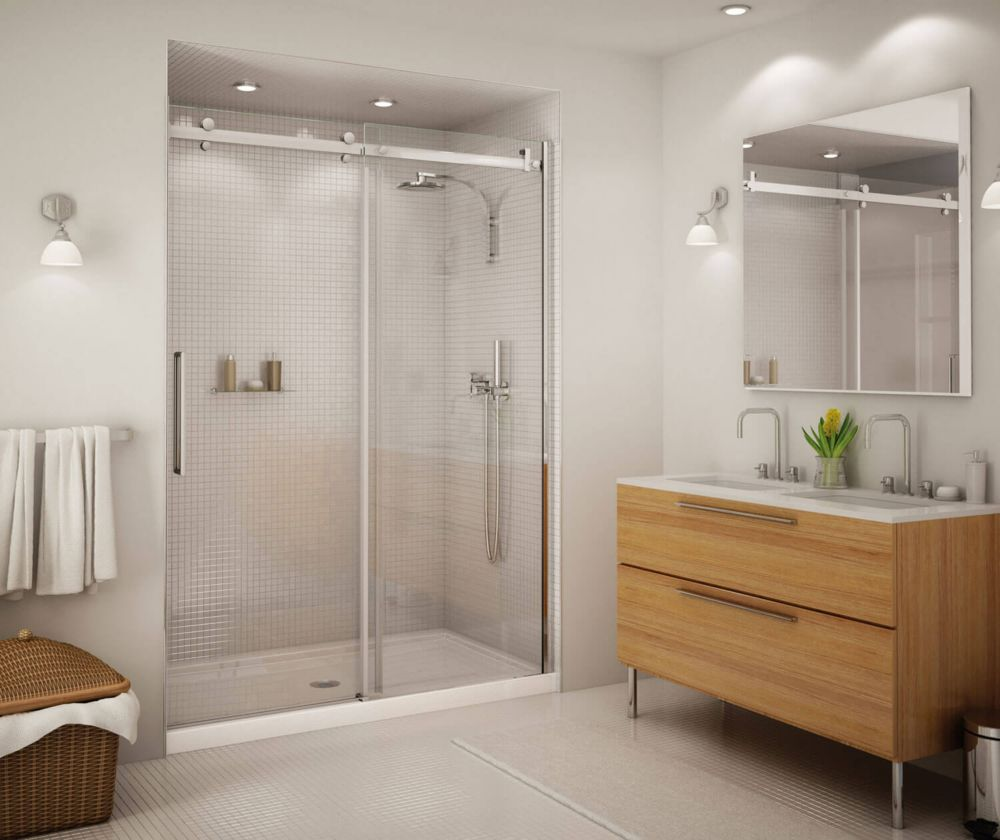 Bathroom Sliding Glass Doors: MAAX Halo Big Roller 60-inch Frameless Sliding Shower Door