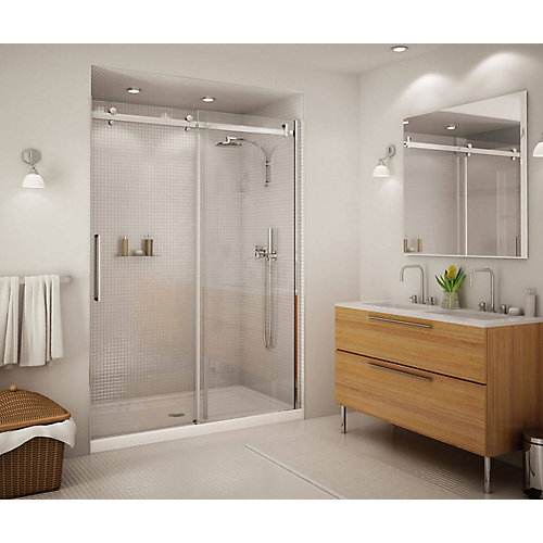 Halo Big Roller 60-inch Frameless Sliding Shower Door with Clear Glass and Chrome Handle