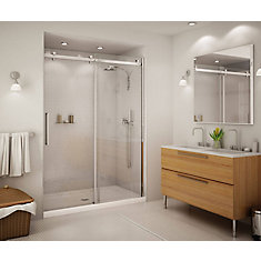 halo big roller 60inch frameless sliding shower door with clear glass and chrome handle
