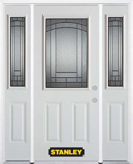 64-inch x 82-inch Chatham 1/2-Lite 2-Panel White Steel Entry Door with Sidelites and Brickmould
