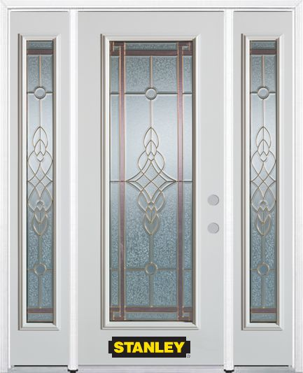 68-inch x 82-inch Milano Full Lite Finished White Steel Entry Door with Sidelites and Brickmould