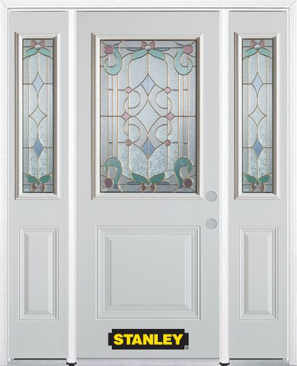 66-inch x 82-inch Aristocrat 1/2-Lite 1-Panel White Steel Entry Door with Sidelites and Brickmoul...