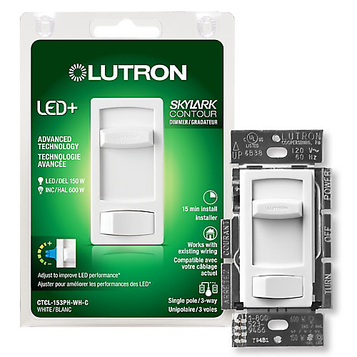 Skylark Contour Single Pole/3-Way Dimmable CFL & LED Dimmer in White