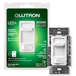 Lutron Skylark Contour LED+ Dimmer Switch for Dimmable LED/Hal/Incand Bulbs, Single-Pole / 3-Way, White