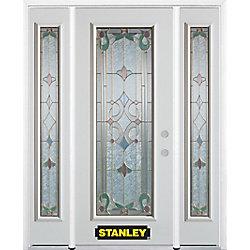 Stanley Doors Porte dentrée en acier préfini en blanc, munie d'un panneau de verre, 68 po x 82 po avec panneaux latéraux et moulure de brique - ENERGY STAR®