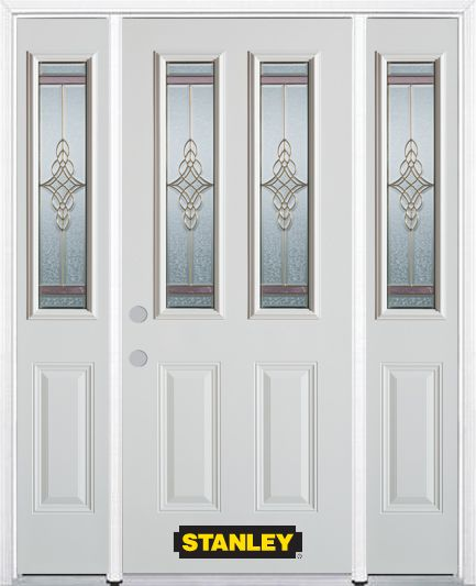 66-inch x 82-inch Milano 2-Lite 2-Panel White Steel Entry Door with Sidelites and Brickmould
