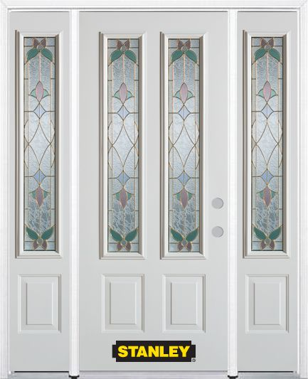 68-inch x 82-inch Aristocrat 2-Lite 2-Panel White Steel Entry Door with Sidelites and Brickmould