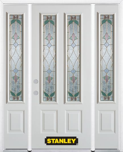 64-inch x 82-inch Aristocrat 2-Lite 2-Panel White Steel Entry Door with Sidelites and Brickmould