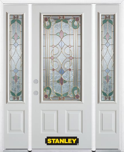 64-inch x 82-inch Aristocrat 3/4-Lite 2-Panel White Steel Entry Door with Sidelites and Brickmoul...