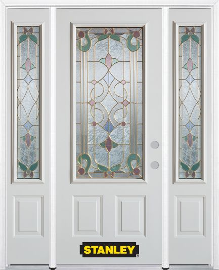 68-inch x 82-inch Aristocrat 3/4-Lite 2-Panel White Steel Entry Door with Sidelites and Brickmoul...