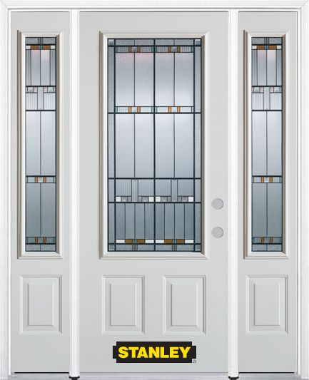 64-inch x 82-inch Chicago 3/4-Lite 2-Panel White Steel Entry Door with Sidelites and Brickmould