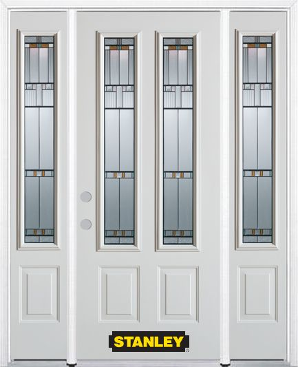 68-inch x 82-inch Chicago 2-Lite 2-Panel White Steel Entry Door with Sidelites and Brickmould