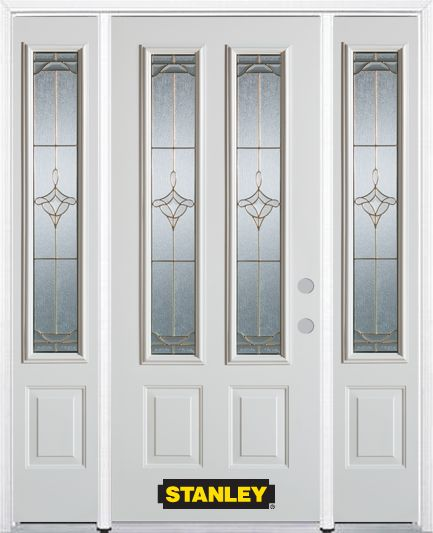 66-inch x 82-inch Florence 2-Lite 2-Panel White Steel Entry Door with Sidelites and Brickmould