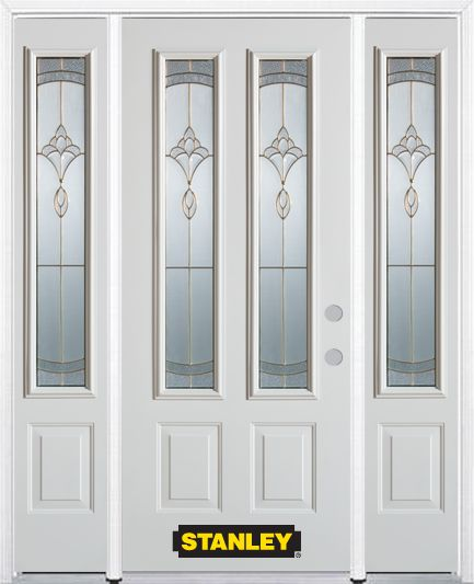 68-inch x 82-inch Karina 2-Lite 2-Panel White Steel Entry Door with Sidelites and Brickmould