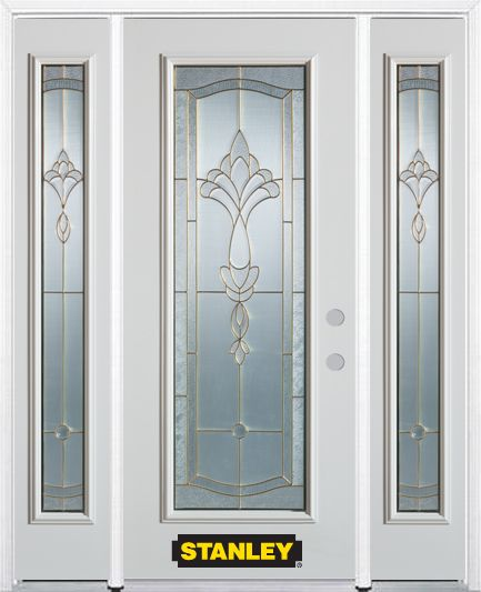 66-inch x 82-inch Karina Full Lite Finished White Steel Entry Door with Sidelites and Brickmould