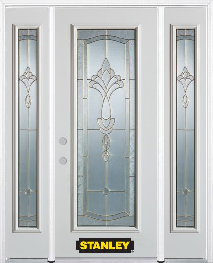 68-inch x 82-inch Karina Full Lite Finished White Steel Entry Door with Sidelites and Brickmould