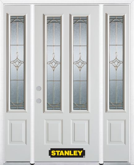 64-inch x 82-inch Florence 2-Lite 2-Panel White Steel Entry Door with Sidelites and Brickmould