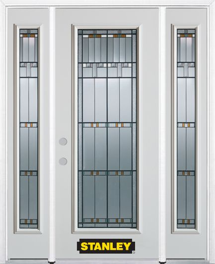 68-inch x 82-inch Chicago Full Lite Finished White Steel Entry Door with Sidelites and Brickmould