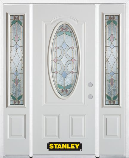 68-inch x 82-inch Aristocrat Oval 3/4-Lite White Steel Entry Door with Sidelites and Brickmould