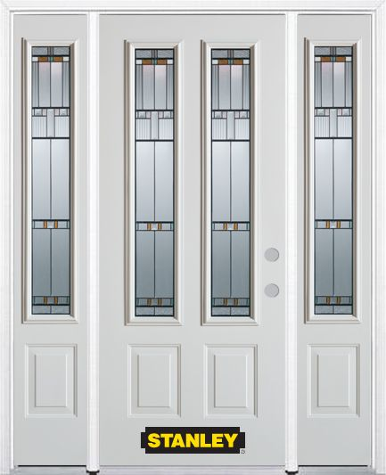 64-inch x 82-inch Chicago 2-Lite 2-Panel White Steel Entry Door with Sidelites and Brickmould