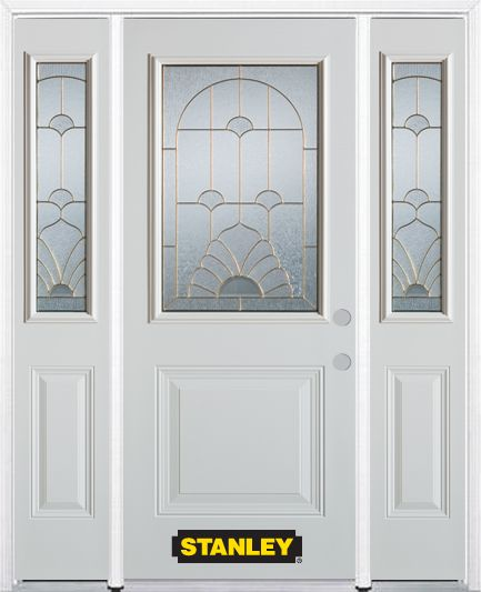 68-inch x 82-inch Florentine 1/2-Lite 1-Panel White Steel Entry Door with Sidelites and Brickmoul...