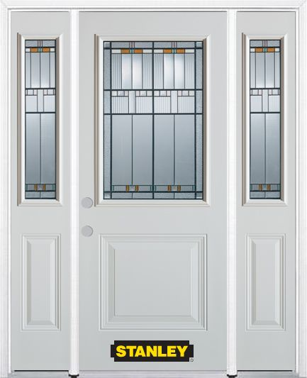 66-inch x 82-inch Chicago 1/2-Lite 1-Panel White Steel Entry Door with Sidelites and Brickmould
