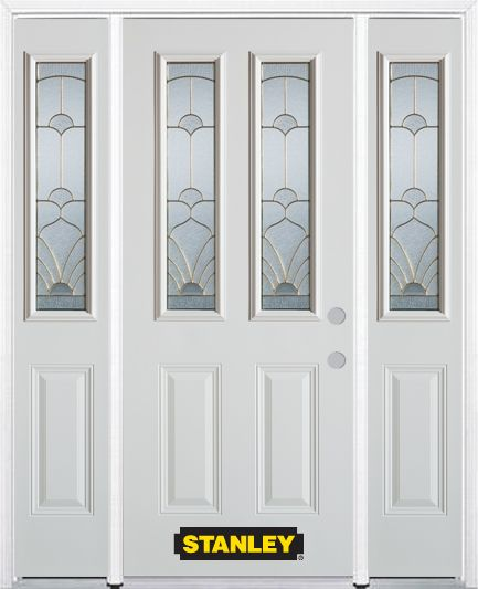 64-inch x 82-inch Florentine 2-Lite 2-Panel White Steel Entry Door with Sidelites and Brickmould
