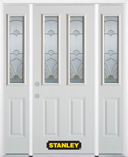 Stanley Doors 64 Inch X 82 Inch Florentine 2 Lite 2 Panel White Steel Entry D