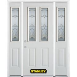 Stanley Doors 64.5 inch x 82.375 inch Florentine Brass 2-Lite 2-Panel Prefinished White Right-Hand Inswing Steel Prehung Front Door with Sidelites and Brickmould - ENERGY STAR®