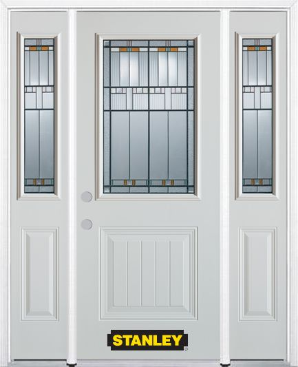 68-inch x 82-inch Chicago 1/2-Lite 1-Panel White Steel Entry Door with Sidelites and Brickmould