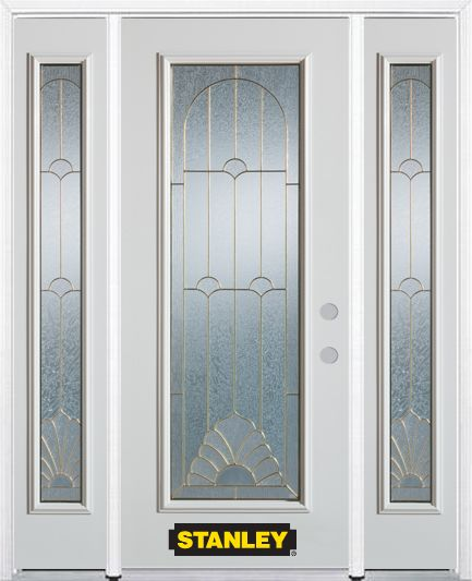 64-inch x 82-inch Florentine Full Lite Finished White Steel Entry Door with Sidelites and Brickmo...