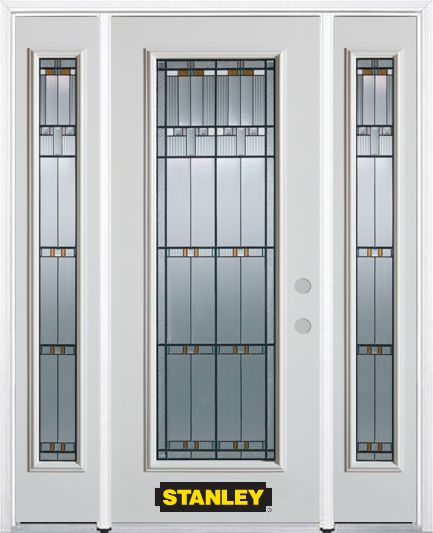Stanley Doors 64.5 inch x 82.375 inch Chicago Patina Full Lite Prefinished White Left-Hand Inswing Steel Prehung Front Door with Sidelites and Brickmould