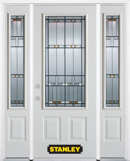 66-inch x 82-inch Chicago 3/4-Lite 2-Panel White Steel Entry Door with Sidelites and Brickmould