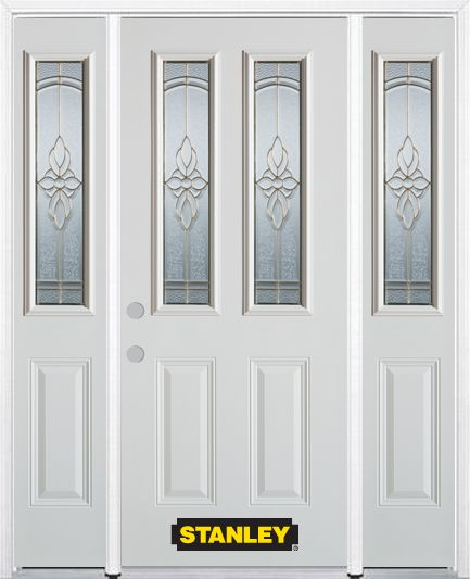 64-inch x 82-inch Trellis 2-Lite 2-Panel White Steel Entry Door with Sidelites and Brickmould