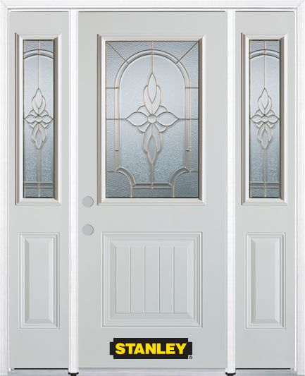 68-inch x 82-inch Trellis 1/2-Lite 1-Panel White Steel Entry Door with Sidelites and Brickmould